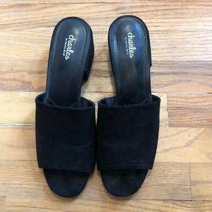 Black slide on shoes